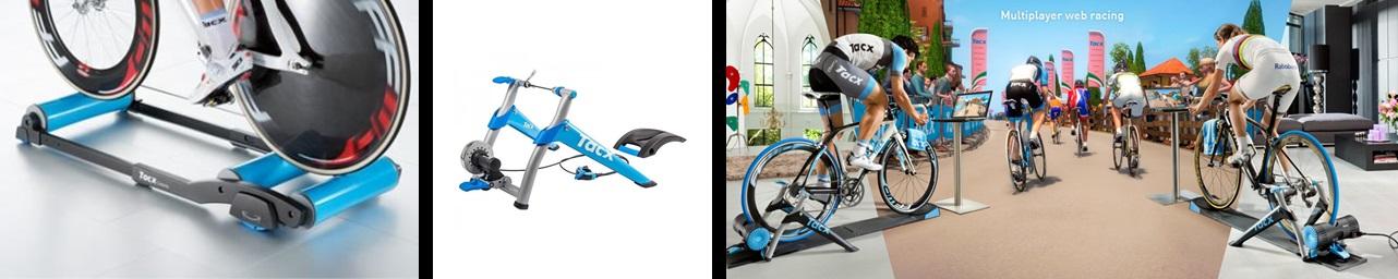 """De gauche à droite : les rouleaux, le Home-Trainer """"simple"""" et le """"connecté"""". Exemple pour la gamme de chez Tacx."""